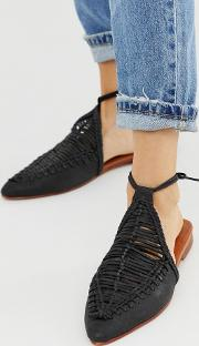 Dana Leather Woven Flat Mules With Ankle Ties