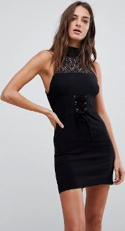 high society lace neck bodycon dress