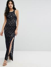 lace column maxi party dress