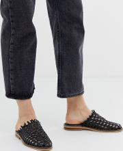 Mirage Leather Woven Slip On Flat Shoes
