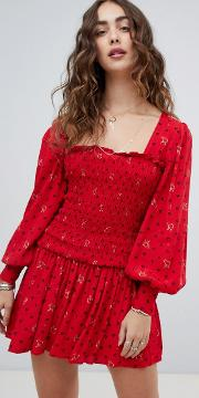 Two Faces Ruched Waist Mini Dress
