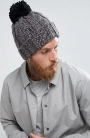 Cable Knit Contrast Bobble Beanie