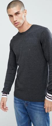 crew neck knitted jumper with contrast cuff