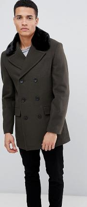 Double Breasted Wool Rich Pea Coat With Faux Fur Collar