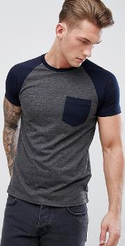 french connecttion contrast pocket raglan  shirt