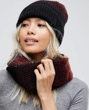 knitted scarf and beanie hat set