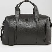 leather look weekender bag black