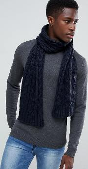 mixed cable knit scarf