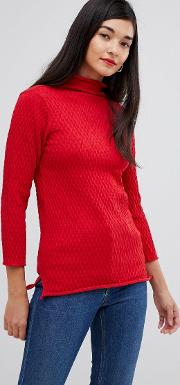 molly mozart high neck waffle knit jumper