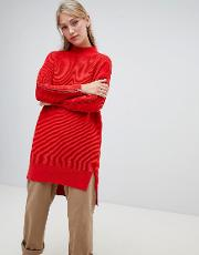 Ottoman High Neck Longline Jumper With Zip Detail