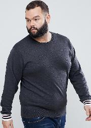 plus crew neck knitted jumper with contrast cuff