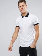 polo shirt with contrast collar and cuff