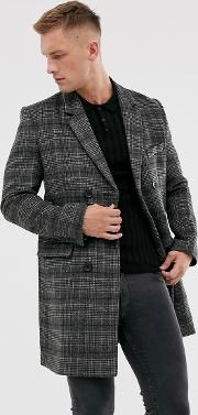 Premium Wool Blend Double Breasted Check Overcoat