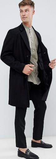 premium wool blend overcoat with velvet collar
