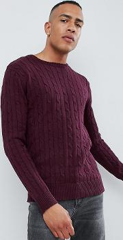 Tall 100 Cotton Logo Cable Knit Jumper