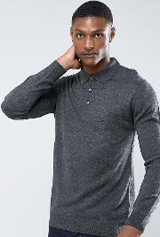 tall knitted long sleeve polo