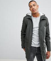 tall shine fishtail hooded mac with borg lining