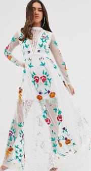 Allover Floral Embroidered Prairie Maxi Dress
