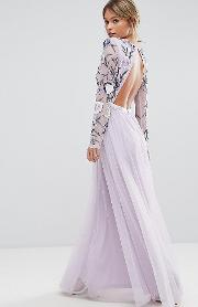 Embroided Maxi Dress With Tulle Skirt  Open Back