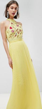 embroidered top pleated maxi dress