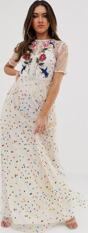 Floral And Bird Embroidered Maxi Dress