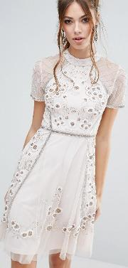 floral embellishment skater dress