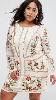 All Over Embellished Rose Dress With Long Sleeves