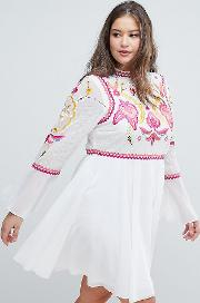 Lace & Embroidery Top Pleated Mini Dress