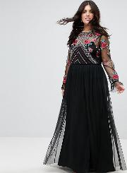 Premium Embroidered High Neck Long Sleeve Maxi Dress