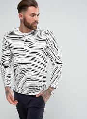 long sleeve t shirt in stripe with grandad neck