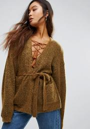 oba mohair wool mix short belted cardigan