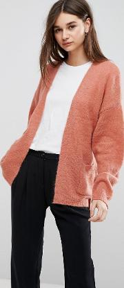 oba short belted mohair wool blend cardigan