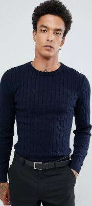 Premium Muscle Fit Stretch Crew Neck Cable Jumper