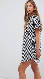 Gingham Shift Dress With Frill Sleeve