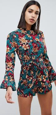 Bell Sleeve Ditsy Floral Print Playsuit