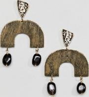 abstract gold drop earrings