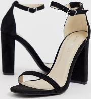 Barely There Square Toe Block Heeled Sandals