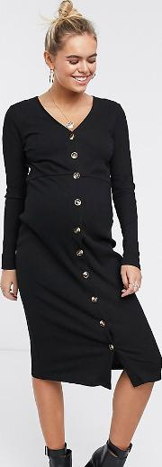 Long Sleeve Bodycon Dress With Button Front