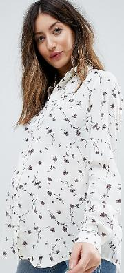relaxed blouse in ditsy floral