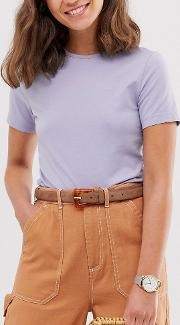 Brown Suede Waist And Hip Jeans Belt With Resin Buckle