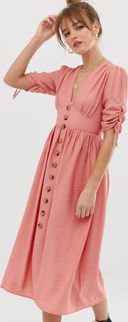 Button Front Midi Tea Dress With Full Skirt And Ruched Sleeves