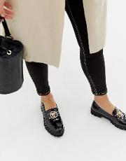 Chunky Flat Shoes With Gold Lion Trim