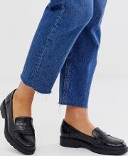 Croc Effect Chunky Loafers