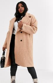Double Breasted Wool Coat With Tie Waist