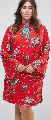 31be67eed3c long sleeve shift dress with high collar in romantic floral. glamorous curve