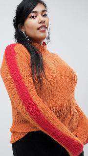 Relaxed Jumper With Colour Block Sleeves