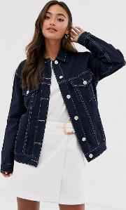 Denim Jacket With Contrast Stitching