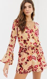 Devore Floral Playsuit
