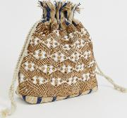 Drawstring Ratten Embellished Woven Pouch Bag