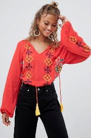 Embroide Blouse With Tassel Detail